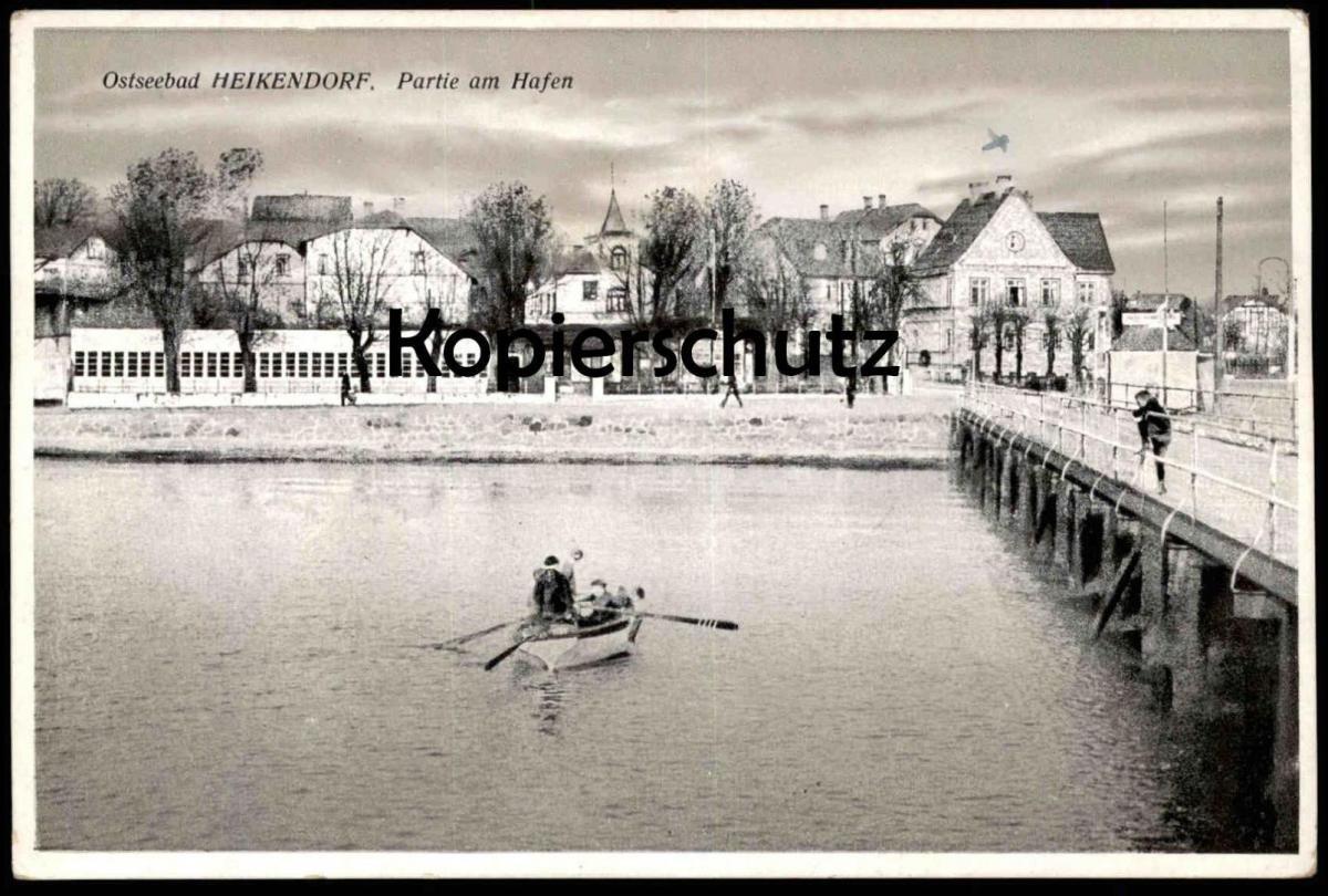 ALTE POSTKARTE KIEL HEIKENDORF PARTIE AM HAFEN 1943 Ansichtskarte AK cpa postcard