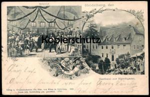 ALTE POSTKARTE HEIDELBERG GASTHAUS ZUR HIRSCHGASSE MENSUR 1901 STUDENTICA STUDENTIKA ÉTUDIANT FECHTEN fencing duel cpa