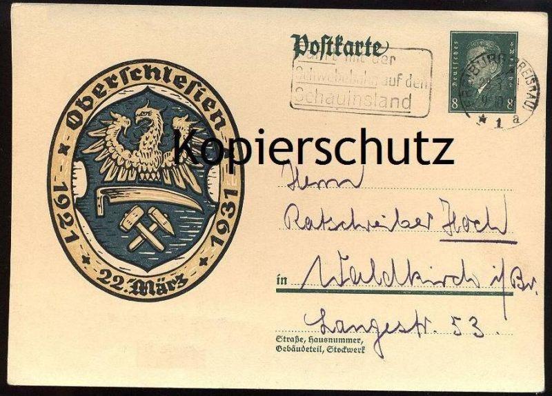 ALTE POSTKARTE GANZSACHE OBERSCHLESIEN SCHLESIEN SLASK SCHLÄSING 22. März 1921 - 1931 stamped paper entier postal