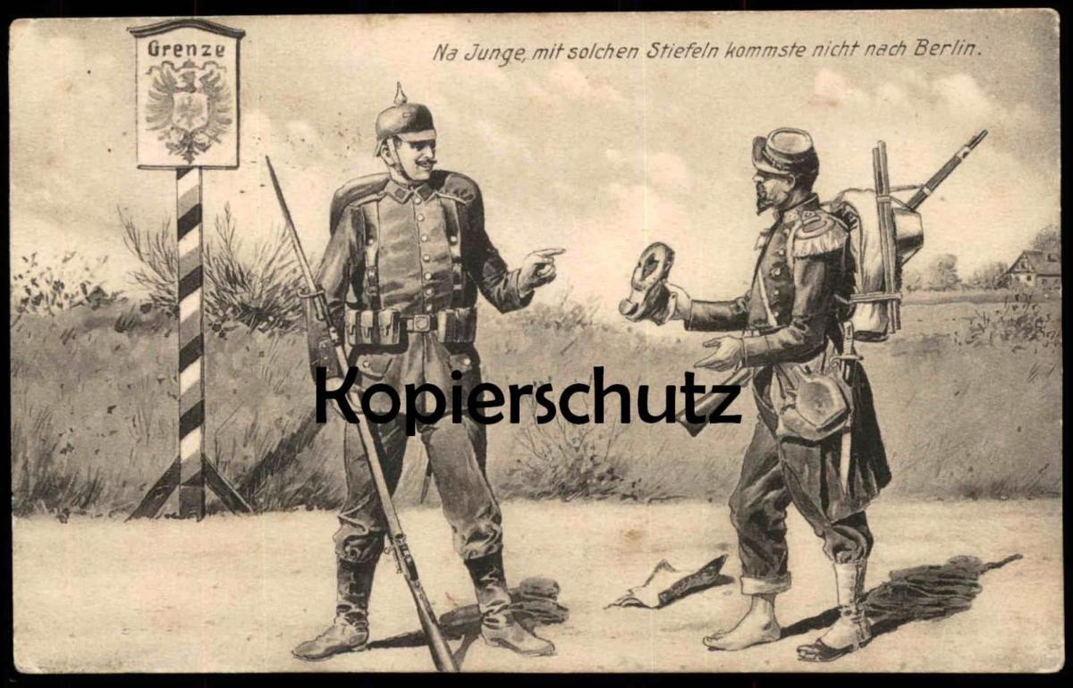 ALTE POSTKARTE SOLDATEN GRENZE BERLIN HUMOR Uniform Soldat Stiefel botte boot border humour soldier uniforme Feldpost AK