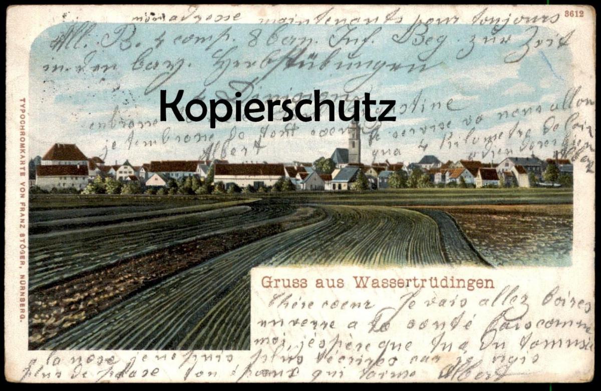 ALTE POSTKARTE GRUSS AUS WASSERTRÜDINGEN 1904 bei Gunzenhausen Ansbach Ansichtskarte AK cpa postcard