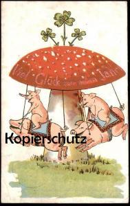 ALTE POSTKARTE VIEL GLÜCK ZUM NEUEN JAHR FLIEGENPILZ SCHWEINE KARUSSELL KLEEBLATT carousel carrousel pig pigs postcard
