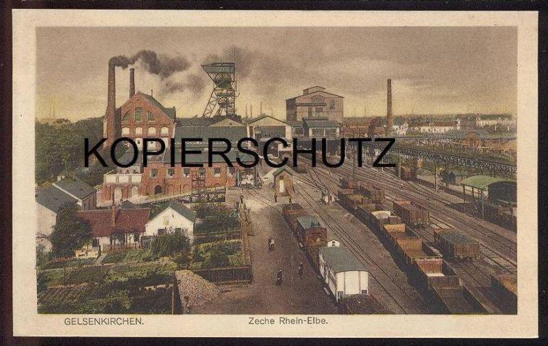 ALTE POSTKARTE GELSENKIRCHEN ZECHE RHEIN-ELBE Güterwaggon train Zug Mine Bergbau Ansichtskarte AK cpa postcard