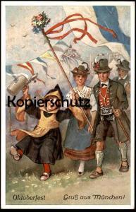 ALTE POSTKARTE GRUSS AUS MÜNCHEN OKTOBERFEST 1934 KÜNSTLER Emil Köhn Münchner Kindl Tracht traditional costume postcard