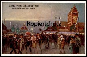 ALTE POSTKARTE MÜNCHEN GRUSS VOM OKTOBERFEST 1934 HEIMKEHR VON DER WIESN KÜNSTLER AK Emil Köhn cpa postcard