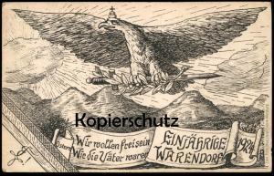 ALTE POSTKARTE WARENDORF GYMNASIUM EINJÄHRIGE 1924 STUDENTICA STUDENTIKA ÉTUDIANT ADLER SCHWERT KRONE crown eagle sword