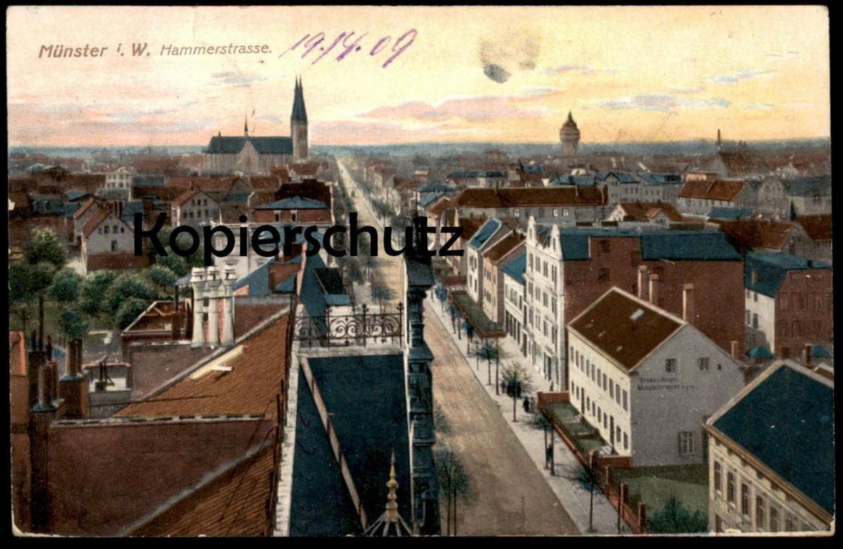 ALTE POSTKARTE MÜNSTER WESTFALEN HAMMERSTRASSE Hammer Straße 1909 Ansichtskarte AK cpa postcard