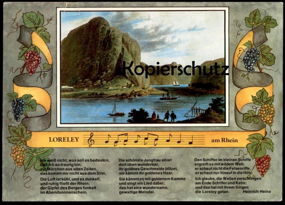 ältere Postkarte Loreley Bei St Goarshausen Mit Gedicht Von Heinrich Heine Rhein Rückseitig Kd Köln Düsseldorfer