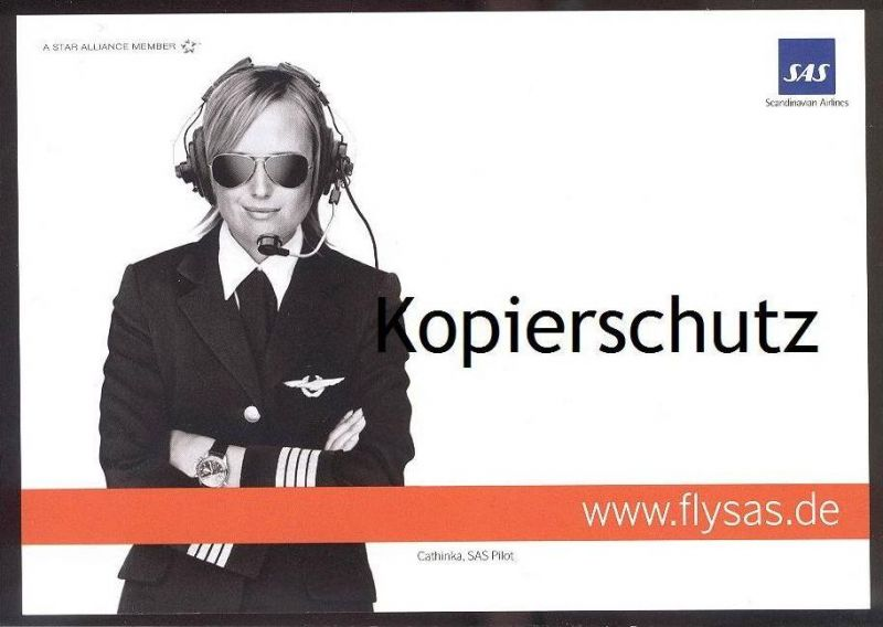 POSTKARTE FLY SAS CATHINKA PILOT Scandinavian Airlines aviator Uniform Uniforme Airline Fluggesellschaft Uhr Watch
