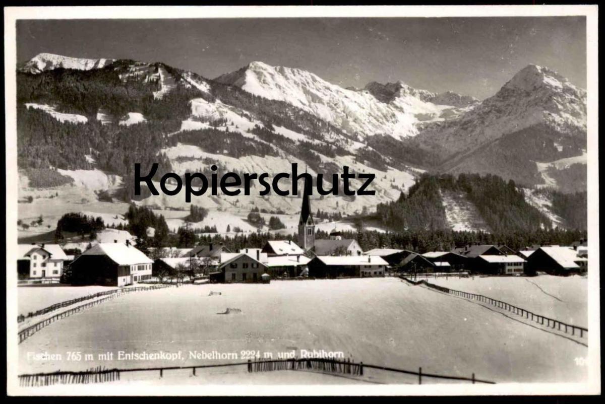 ALTE WINTER POSTKARTE FISCHEN IM ALLGÄU Nebelhorn Rubihorn Entschenkopf im Winter Hiver Snow Neige cpa postcard AK