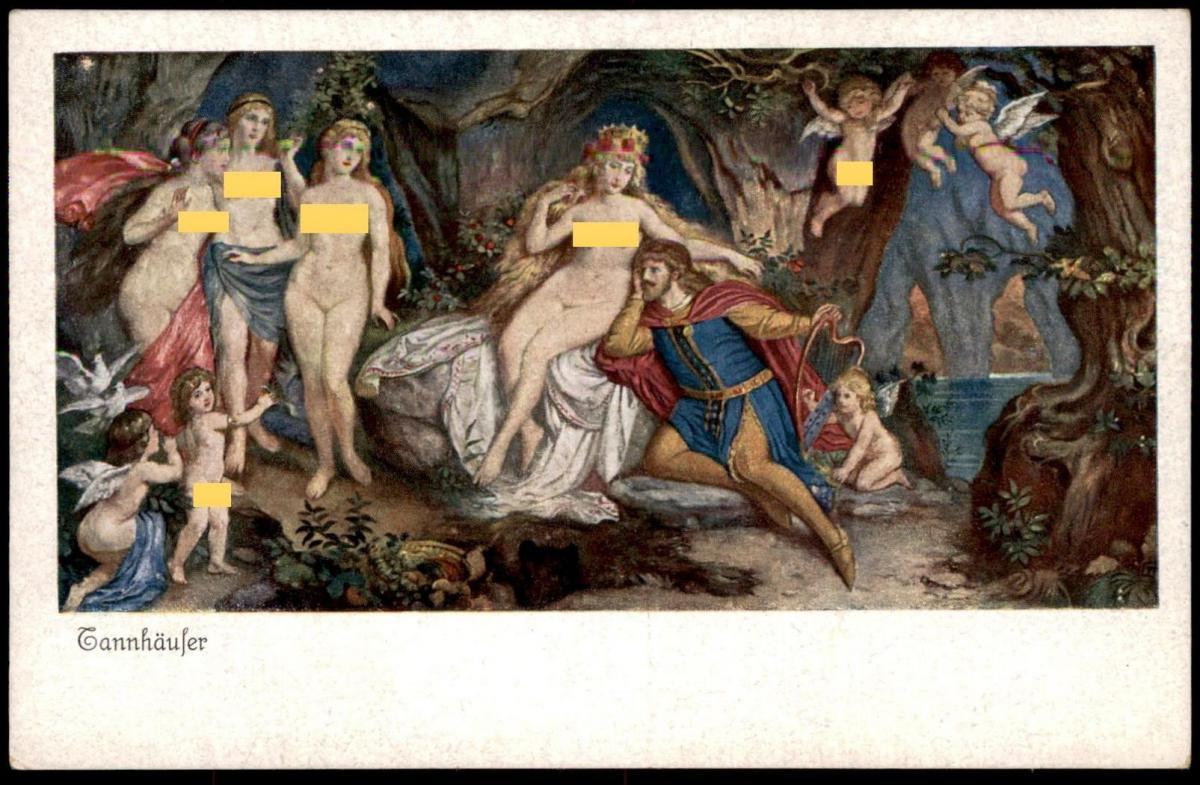 ALTE POSTKARTE OPER OPERA RICHARD WAGNER TANNHÄUSER Tannhaeuser Engel Angel ange nu nue nus nude Amor Amour Cupid cpa AK