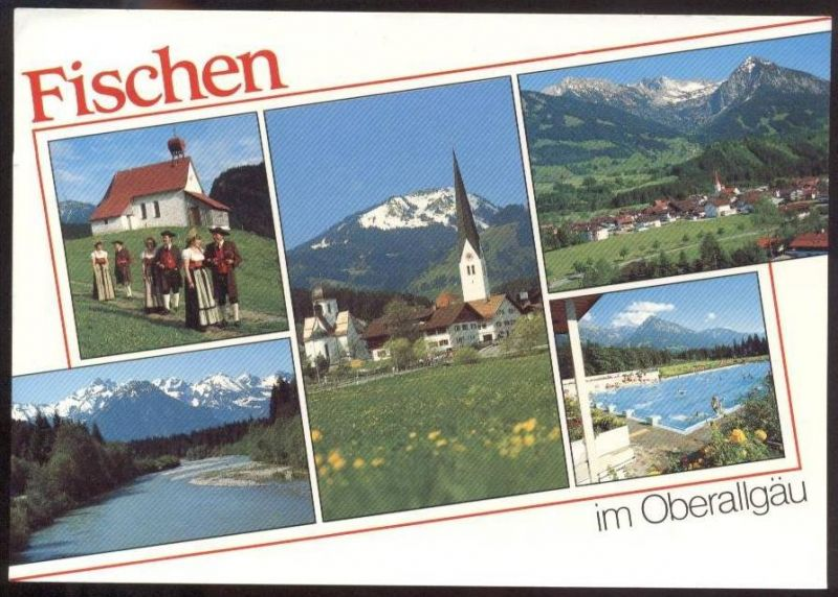 POSTKARTE FISCHEN IM OBERALLGÄU Freibad Tracht Folklore Traditional costume folklorique cpa postcard AK Ansichtskarte