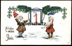 ALTE POSTKARTE ZWERGE EIN FROHES NEUES JAHR 01. JANUAR Zwerg Neujahr new year bonne année dwarf midget Pfeife pipe cpa