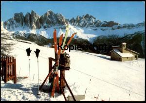 POSTKARTE PALMSCHOSS MIT GEISLERGRUPPE Dolomiten Dolomiti Plose Bressanone Brixen Plancios Cima Odle Ski skier skiing AK