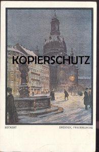 ALTE KÜNSTLER POSTKARTE DRESDEN FRAUENKIRCHE IM WINTER SIGN. FRITZ BECKERT Maler Künstler Hiver Snow Schnee cpa postcard