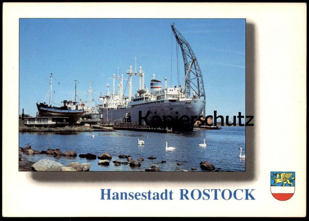 POSTKARTE HANSESTADT ROSTOCK MIT TRADITIONSSCHIFF TYP FRIEDEN Schiff ship bateau Ansichtskarte AK postcard cpa