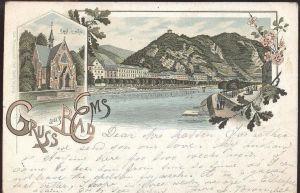 ALTE LITHO POSTKARTE GRUSS AUS BAD EMS 1897 ENGLISCHE KIRCHE british church Ansichtskarte AK cpa postcard