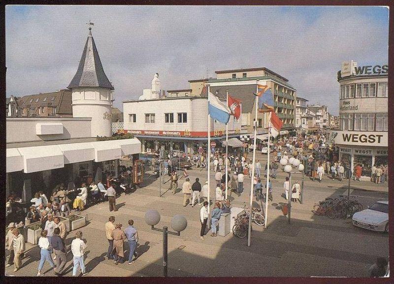 POSTKARTE WESTERLAND FRIEDRICHSTRASSE SYLT PORSCHE 944 McDonald´s Wegst Porsche Auto car Ansichtskarte AK cpa postcard
