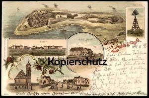 ALTE LITHO POSTKARTE GRUSS AUS LANGEOOG 1899 HOTEL MEINEN SEEZEICHEN HOSPIZ HOSPITZSTRASSE KIRCHE Ansichtskarte AK cpa