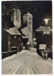 ÄLTERE POSTKARTE MÜNSTER IN WESTFALEN DOM BEI NACHT IM WINTER Schnee Weihnachtsstimmung Weihnachten Ansichtskarte AK cpa