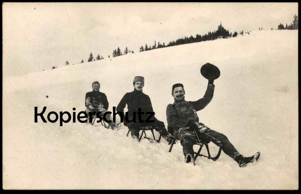 ALTE POSTKARTE WINTERSPORT SCHLITTEN SPORT BOB Bobfahren Luge Traineau Sleigh Verlag Ottmar Zieher 1905 Ansichtskarte AK