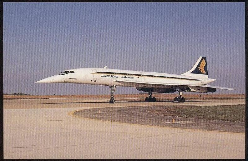 POSTKARTE FLUGZEUG AIRLINE AIRPLANE AVION AIRCRAFT CONCORDE 102 Singapore Airlines at Dallas Texas 1980