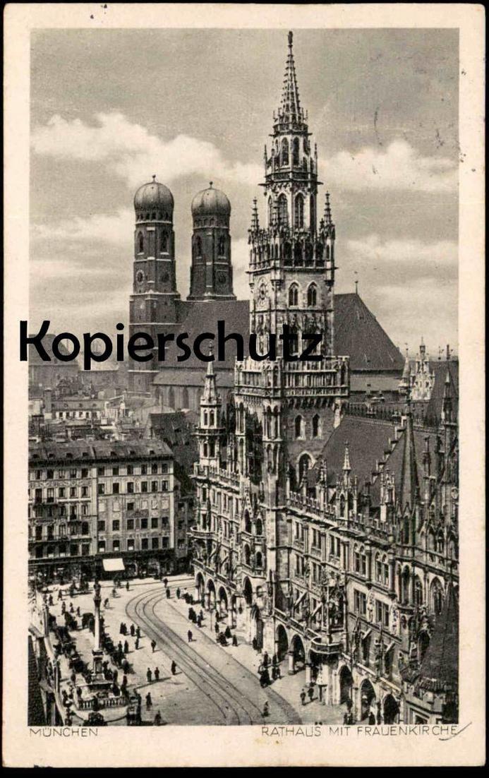 ALTE POSTKARTE MÜNCHEN RATHAUS MIT FRAUENKIRCHE 1950 la mairie town hall cpa postcard AK Ansichtskarte