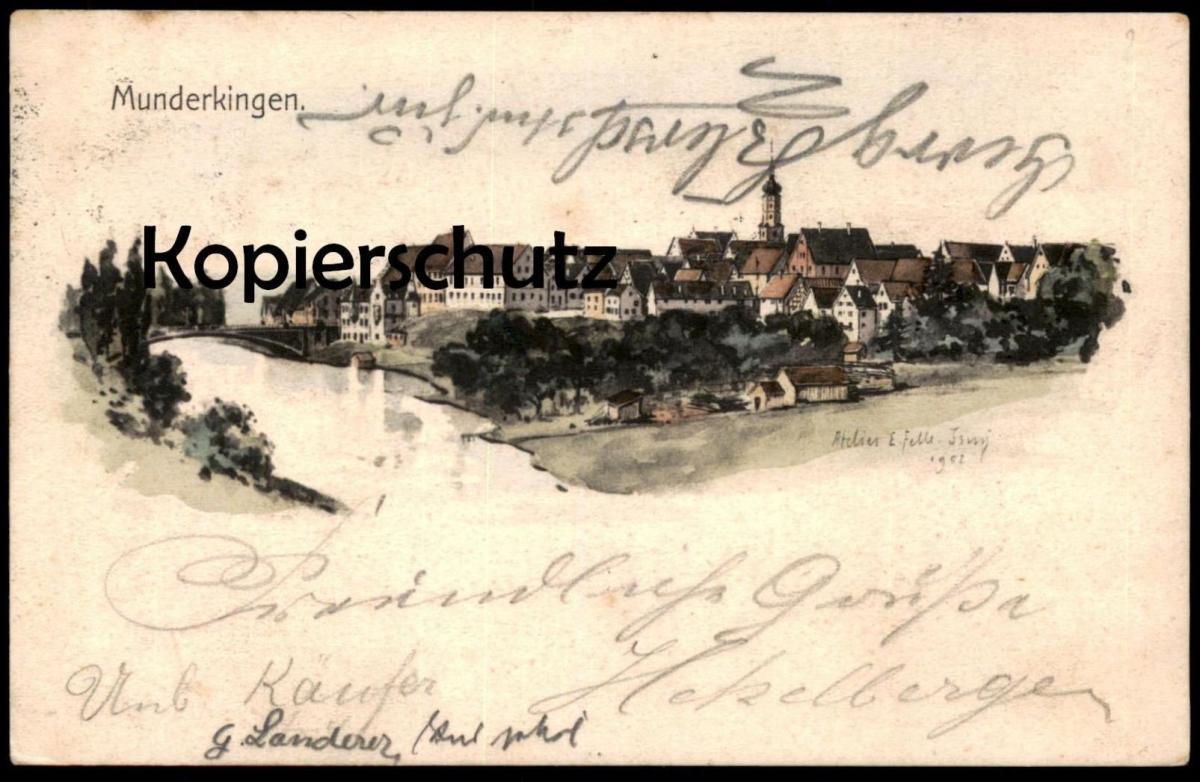 ALTE LITHO EUGEN FELLE POSTKARTE MUNDERKINGEN  BEI ULM EHINGEN FELLE ISNY 1903 Ansichtskarte AK cpa postcard