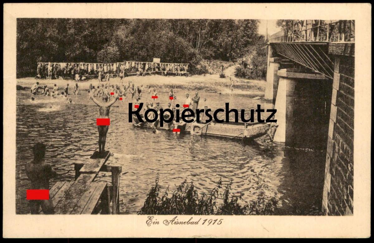 ALTE POSTKARTE EIN AISNEBAD 1915 Aisne Lorraine Champagne-Ardenne nue nu hommes nus nude men Militaria1914 - 1918