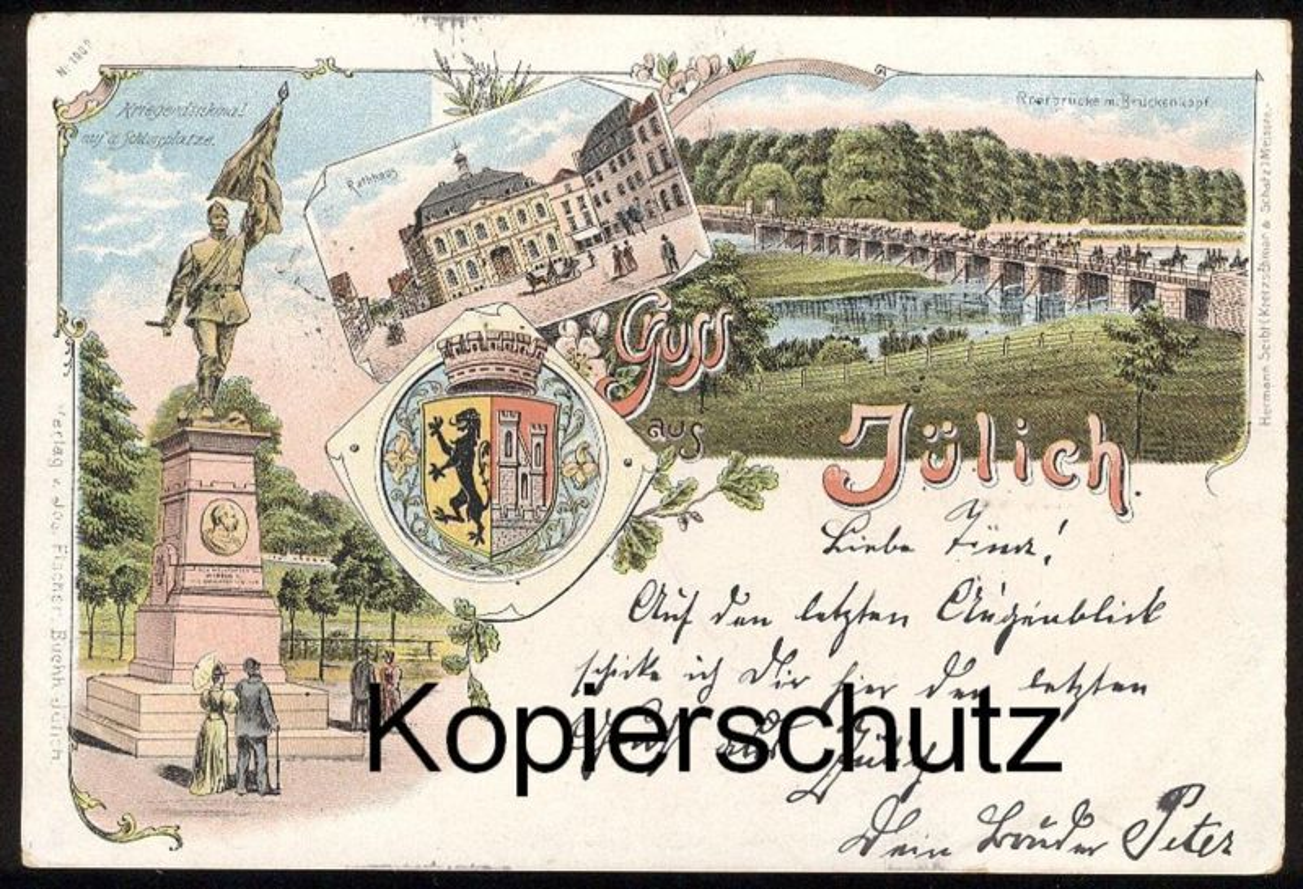ALTE LITHO POSTKARTE GRUSS AUS JÜLICH KRIEGERDENKMAL BRÜCKENKOPF 1897 Ansichtskarte AK cpa postcard