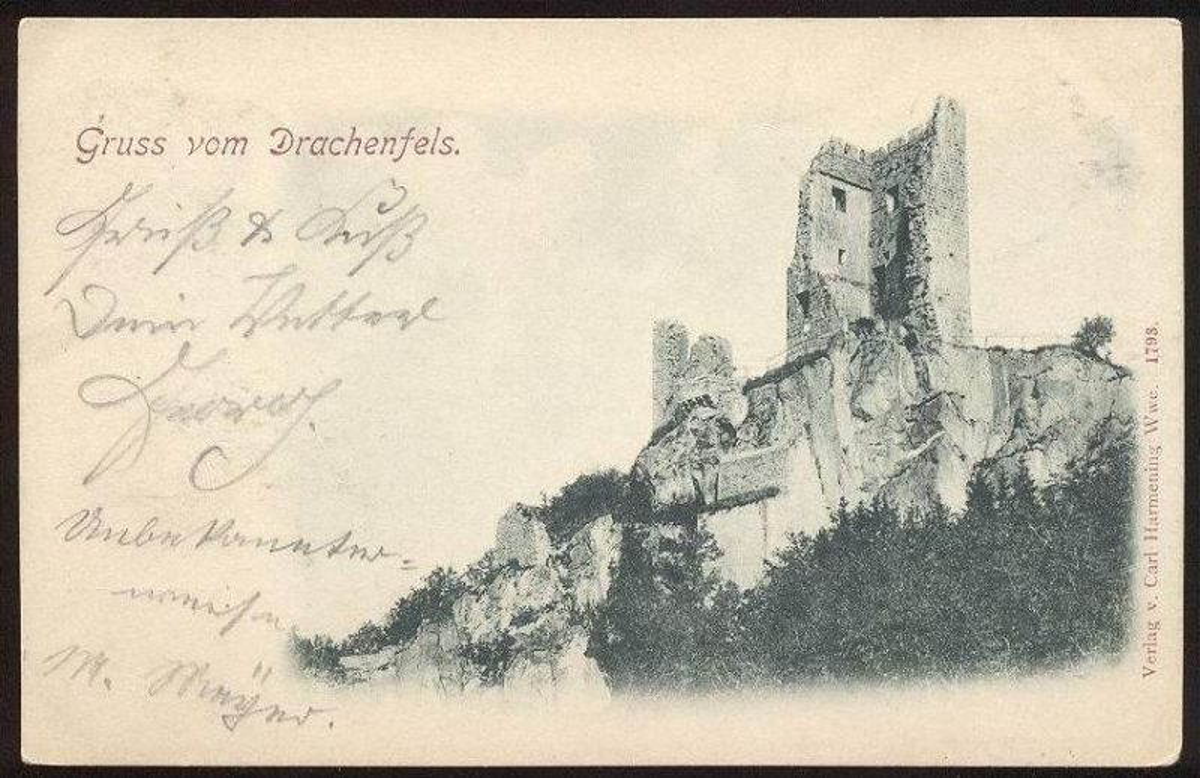 ALTE POSTKARTE GRUSS VOM DRACHENFELS 1898 BEI BONN KÖNIGSWINTER Siebengebirge Ansichtskarte postcard cpa AK