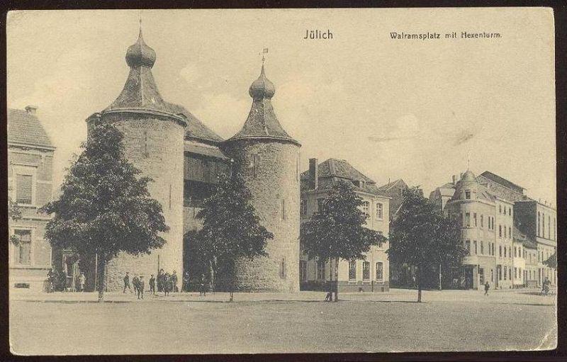 ALTE POSTKARTE JÜLICH WALRAMSPLATZ MIT HEXENTURM Turm witch tower tour Ansichtskarte AK cpa postcard