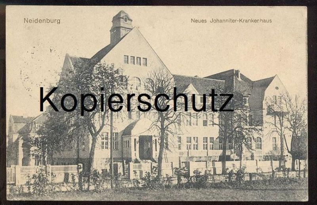 ALTE POSTKARTE NEIDENBURG NEUES JOHANNITER KRANKENHAUS OSTPREUSSEN NIDZICA Nibork Nidbork Feldpost Willenberg Wielbark