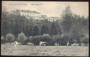 ALTE POSTKARTE GRUSS AUS BAD CLEVE HOTEL MAYWALD KERMISDAHL KÜHE COW Kuh vache 1916 PRÜF-STEMPEL P.K. ROT Kleve AK cpa