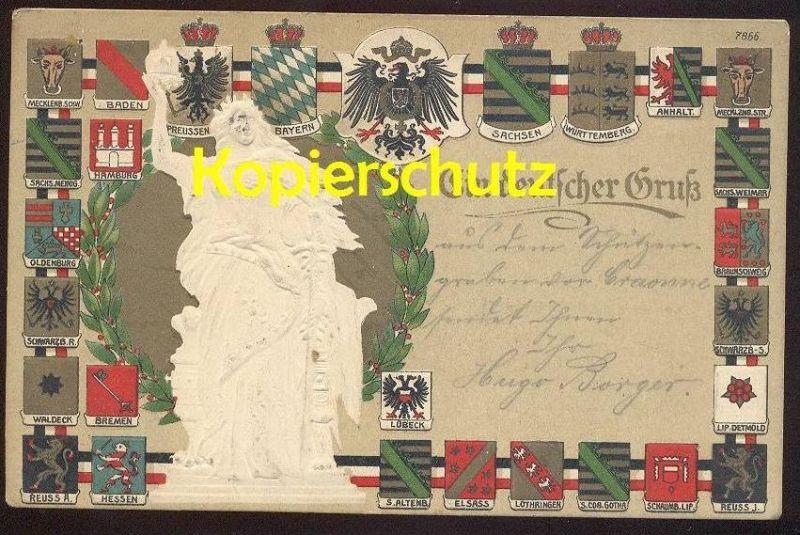 ALTE PRÄGE-POSTKARTE WAPPEN KRIEGSSPENDE Preussen Elsass Lothringen Lippe Detmold Waldeck coats of arms embossed gaufrée