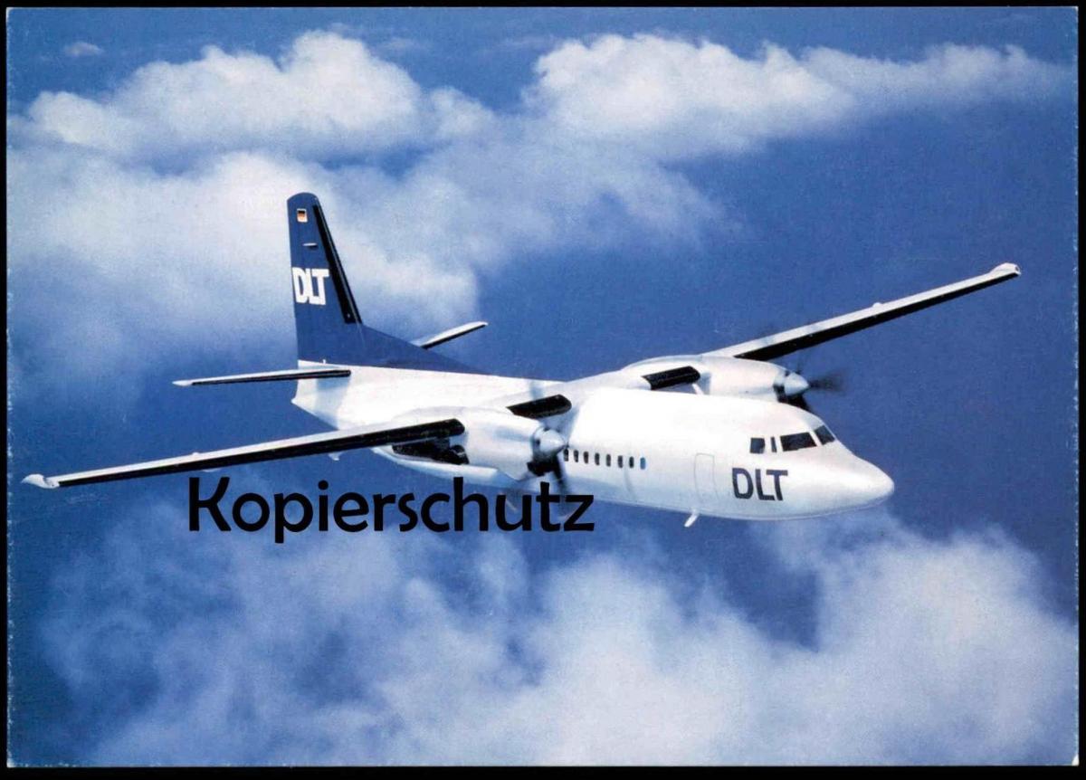 ÄLTERE POSTKARTE FLUGZEUG FOKKER 50 DLT AIRPLANE Airline Avion Aircraft Fluggesellschaft Ansichtskarte AK cpa postcard