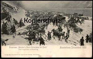 ALTE POSKARTE KAUB CAUB BLÜCHER RHEINÜBERGANG PANORAMA AUSSTELLUNG DÜSSELDORF 1902 Pferd Kutsche Uniform Ungewitter & W.