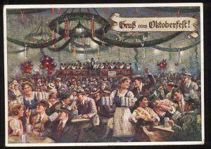 ALTE POSTKARTE GRUSS VOM OKTOBERFEST MÜNCHEN 1952 Munich Ansichtskarte AK cpa postcard