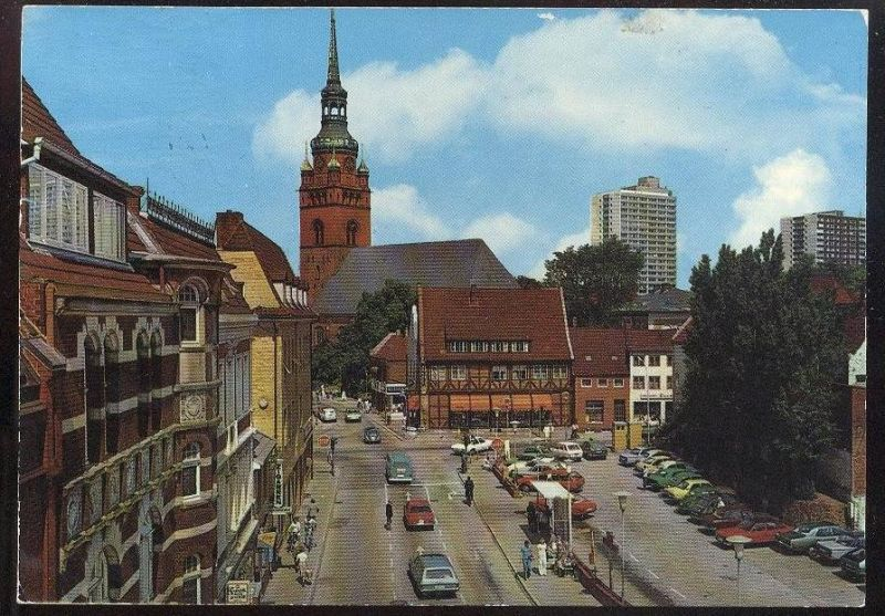 ltere postkarte itzehoe berliner platz vw ford opel auto autos old cars voitures cpa postcard. Black Bedroom Furniture Sets. Home Design Ideas