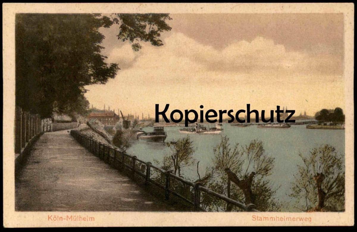 Alte Postkarte Koln Mulheim Stammheimerweg Frachtschiff Cargo