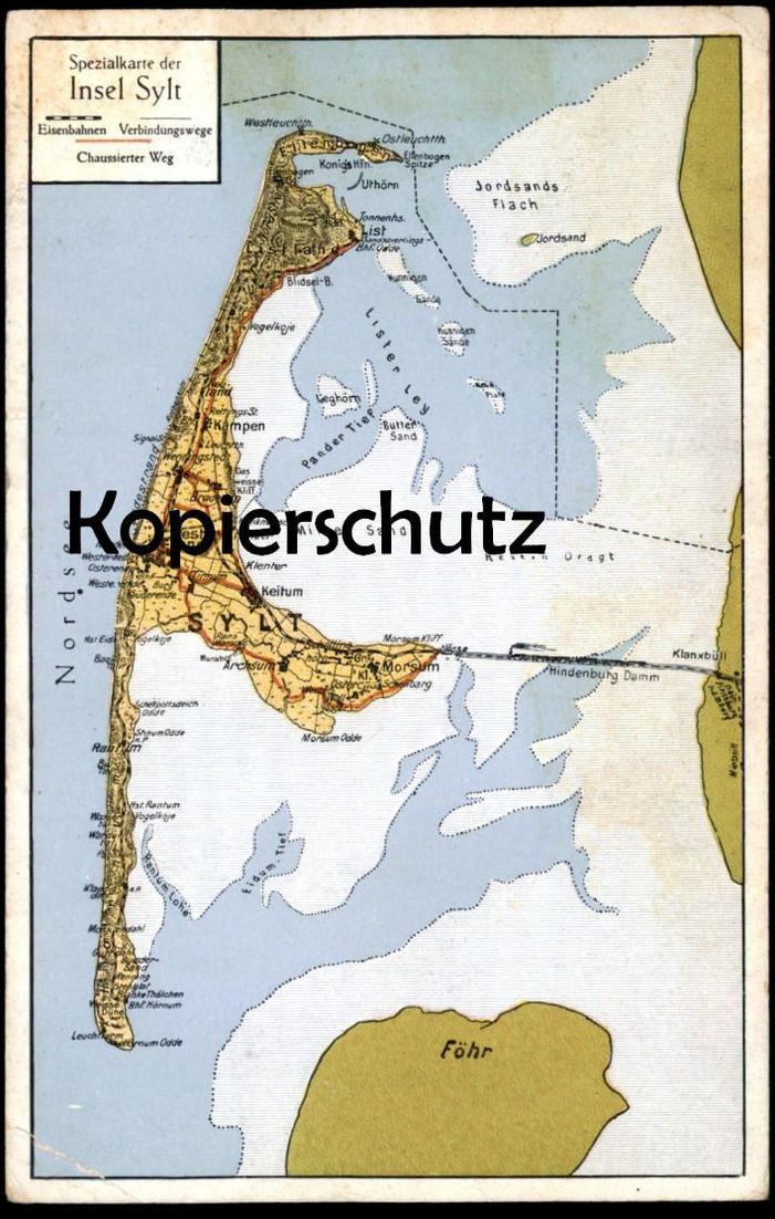 ALTE POSTKARTE SYLT LANDKARTE SPEZIALKARTE Archsum Uthörn List Westerland Rantum Föhr Map Carte géographique postcard AK