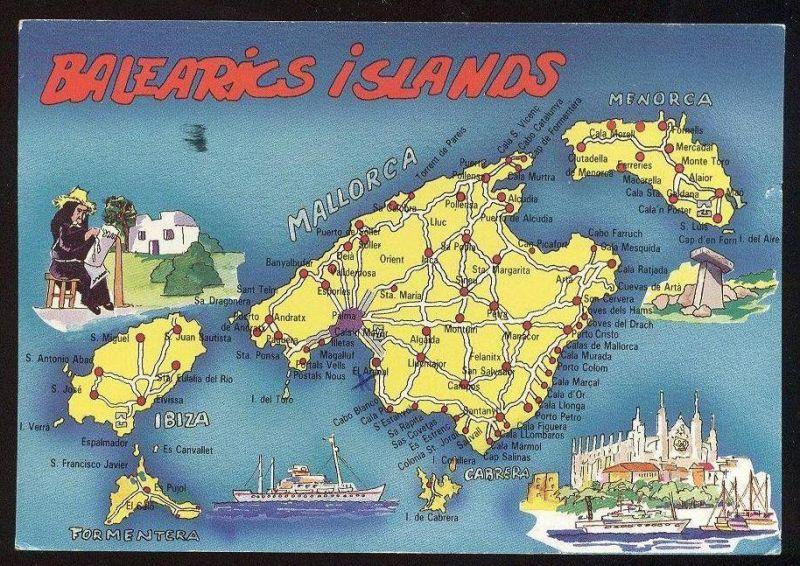 Insel Menorca Karte.Postkarte Isla De Mallorca Map Landkarte Carte Geographique Ibiza Menorca Formentera Balearic Islands Islas Baleares Cpa
