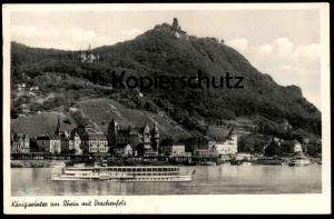 ÄLTERE POSTKARTE KÖNIGSWINTER AM RHEIN MIT DRACHENFELS SCHIFF VATERLAND Dampfer Steam Ship Steamer Rhein Rhine Rhin Rijn
