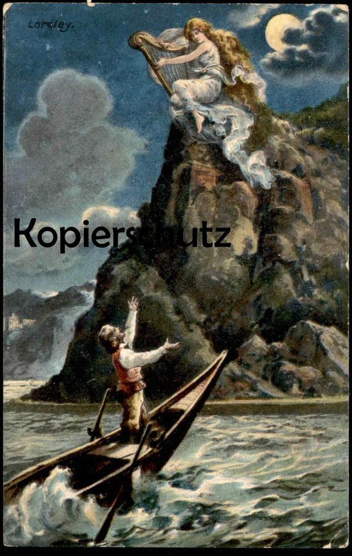 ALTE POSTKARTE LORELEY Harfe bei St. Goarshausen Rhein Verlag face visage OTTMAR ZIEHER mountain montagne harp cpa