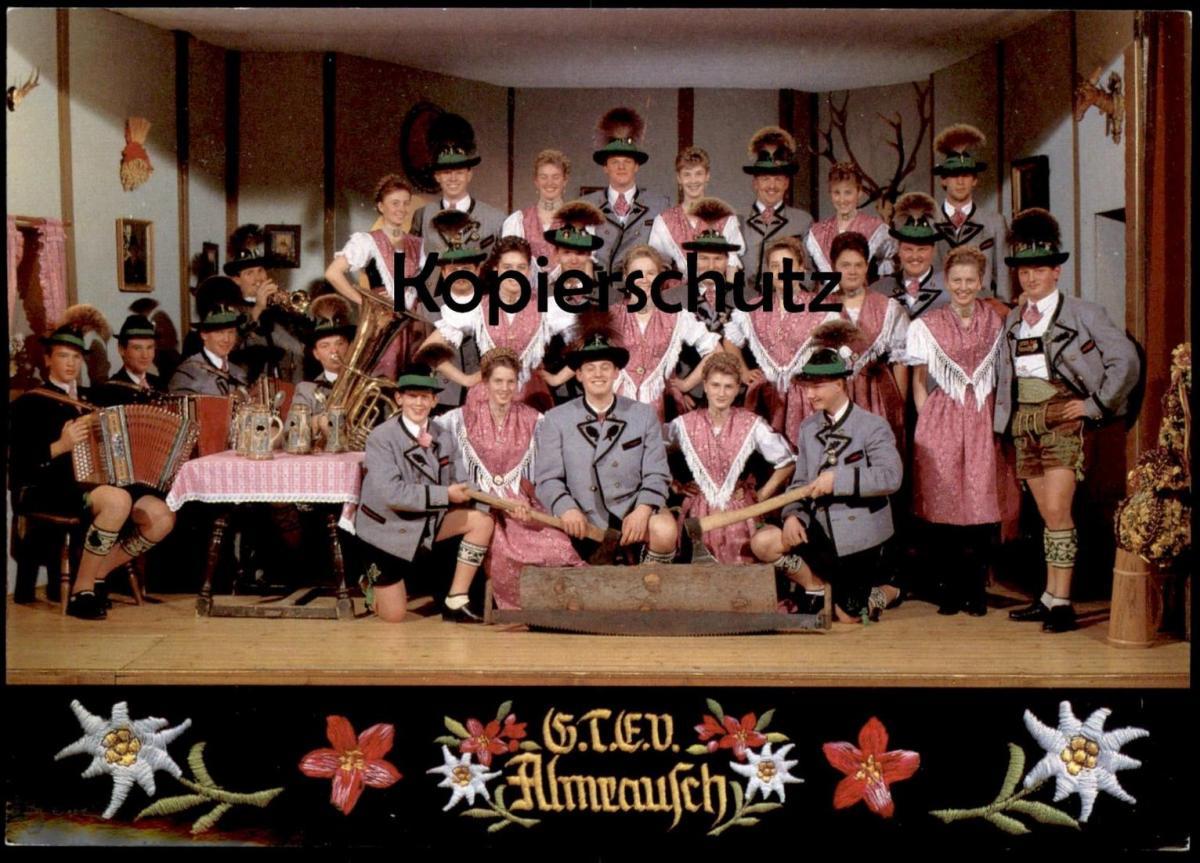 POSTKARTE KAPELLE ALMRAUSCH Tracht Trachten Traditional Costume Folklorique Berchtesgaden Untersalzberg Edelweiß trumpet