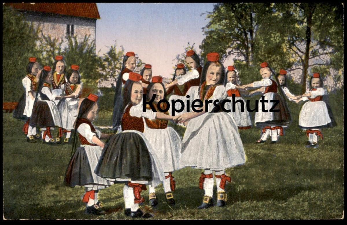 ALTE POSTKARTE HESSISCHE TRACHTEN Traditional Costume Folklorique Tracht Hessen Kinderreigen Enfants Children cpa AK