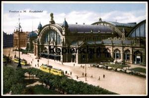 ALTE POSTKARTE FRANKFURT AM MAIN Bahnhof mit gelber Tram Tramway Strassenbahn Station gare Ansichtskarte AK cpa