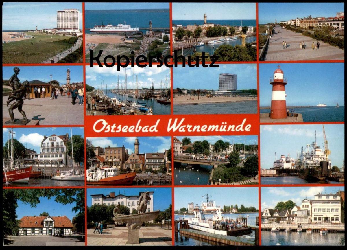 POSTKARTE ROSTOCK WARNEMÜNDE Ostsee Leuchtturm Lighthouse Phare Fischerei Fischkutter fishing boat postcard cpa AK