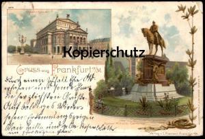 ALTE LITHO POSTKARTE GRUSS AUS FRANKFURT 1897 Kaiser Wilhelm Denkmal monument Verlag Klement Ansichtskarte cpa postcard