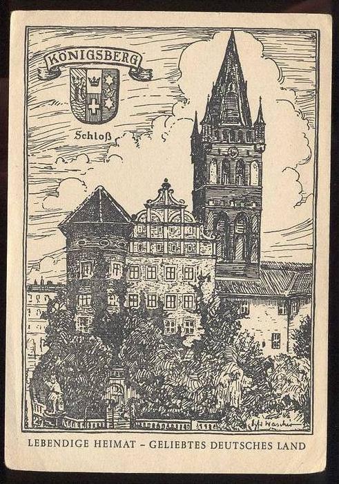 ALTE POSTKARTE KÖNIGSBERG LEBENDIGE HEIMAT Kaliningrad Krolewiec OSTPREUSSEN sign. Wascher Künstler Schloss postcard cpa